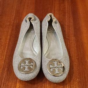 Tory Burch grey felt reva ballet slipper